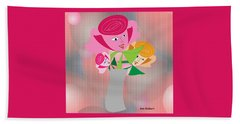 Friendly Flowers Beach Towel by Iris Gelbart