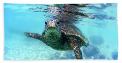 friendly Hawaiian sea turtle  Beach Towel