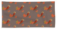 Beach Towel featuring the mixed media Friendly Owls On Biscuit Brown by Nancy Lee Moran