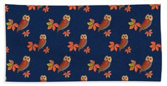 Beach Towel featuring the mixed media Friendly Owls On Midnight Blue by Nancy Lee Moran