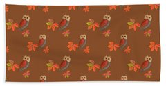 Beach Towel featuring the mixed media Friendly Owls On Rich Sienna Brown by Nancy Lee Moran