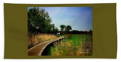 Friends Walking The Wetlands Trail Beach Towel