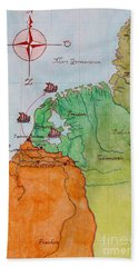 Beach Sheet featuring the drawing Friesland During The Time Of The Roman Empire by Annemeet Hasidi- van der Leij
