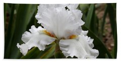 Frilly White Iris Flower Beach Sheet