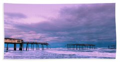 Beach Towel featuring the photograph Frisco Fishing Pier And Clouds Panorama by Ranjay Mitra