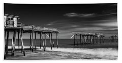 Beach Towel featuring the photograph Frisco Fishing Pier In Black And White Panorama by Ranjay Mitra