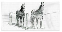 Friesian Horses Beach Towel