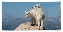 Frisky Mountain Goat Babies Beach Towel