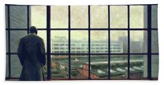 Frits Is Overlooking His Philips Plants In Eindhoven Beach Sheet by Nop Briex