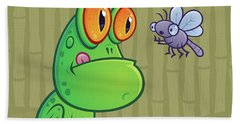 Frog And Dragonfly Beach Towel