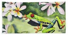 Frog And Plumerias Beach Towel