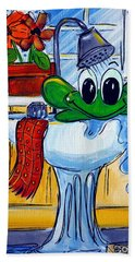 Frog Bath Beach Towel