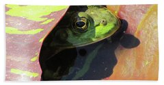 Frog Between Lily Pads Beach Towel