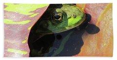 Frog Between Lily Pads Beach Towel