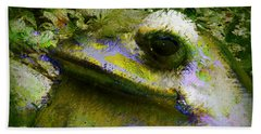 Beach Towel featuring the photograph Frog In The Pond by Lori Seaman
