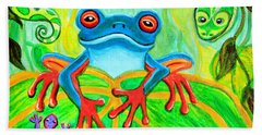 Frog Snake And Gecko In The Rainforest Beach Towel