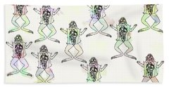 Frogs Go Pop  Beach Towel by Keshava Shukla