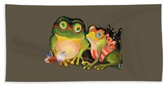 Frogs Transparent Background Beach Towel