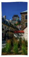 From Below Fairmont Le Chateau Frontenac Beach Towel