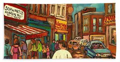 From Schwartz's To Warshaws To The  Main Steakhouse Montreal's Famous Landmarks By Carole Spandau  Beach Towel