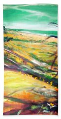 Beach Towel featuring the painting From The Lawn Pandanus by Winsome Gunning