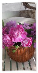 Front Porch Peonies Beach Towel