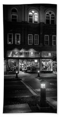 Front Street Crossing In Black And White Beach Towel