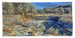 Frost Along The Creek Beach Towel