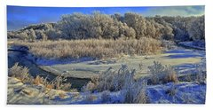 Frost Along The Creek - Panorama Beach Towel by Bruce Morrison