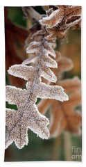 Frost Covered Oak Leaf Beach Sheet