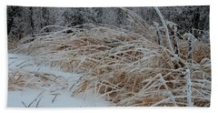 Frost Laden Grasses Beach Towel by Sandra Foster
