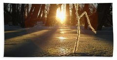 Frost On Sapling At Sunrise Beach Towel by Kent Lorentzen