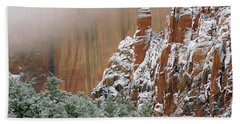 Frosted Cliffs In Zion Beach Towel by Daniel Woodrum