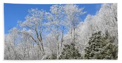 Frosted Trees Blue Sky 1 Beach Sheet