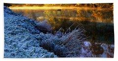 Frosty Autumnal Tamar River Beach Towel