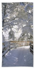 Frosty Boardwalk Beach Towel