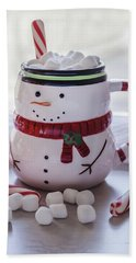 Beach Towel featuring the photograph Frosty Christmas Mug by Kim Hojnacki