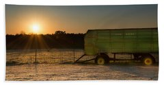 Frosty John Deere Sunrise Beach Towel
