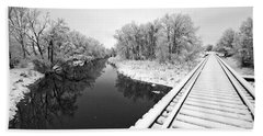 Frosty Morning On The Poudre Beach Towel by James Steele