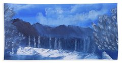 Frosty Mountain River Beach Towel