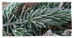 Frosty Pine Branch Beach Towel