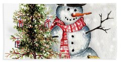 Frosty The Snowman Greeting Card Beach Towel