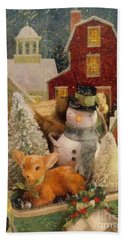 Beach Towel featuring the painting Frosty The Snowman by Mo T