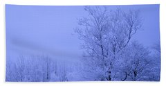Frosty Trees At Night Beach Sheet