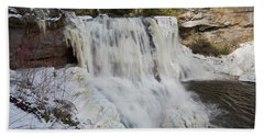 Frozen Blackwater Falls Beach Towel