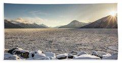 Frozen Fjord Sunrise Beach Towel