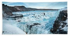 Frozen Gullfoss Beach Towel