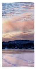 Frozen Lake Sunset In Wilton Maine  -78096-78097 Beach Sheet