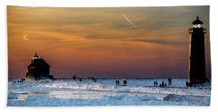 Frozen Lighthouse Beach Towel