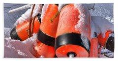 Frozen Lobster Trap Buoys In Winter Beach Towel